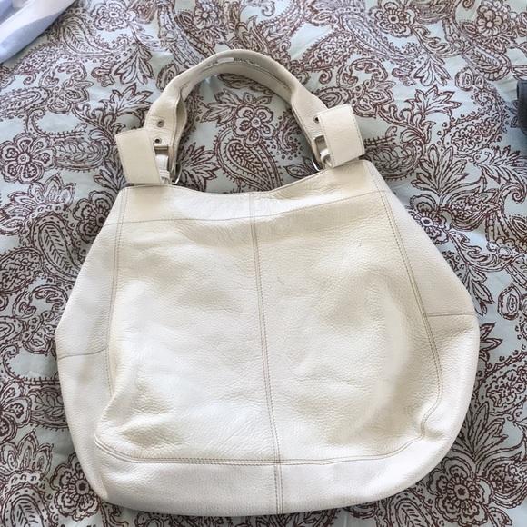 Maurizio Taiuti Handbags - White Italian pebbled-leather shoulder tote.